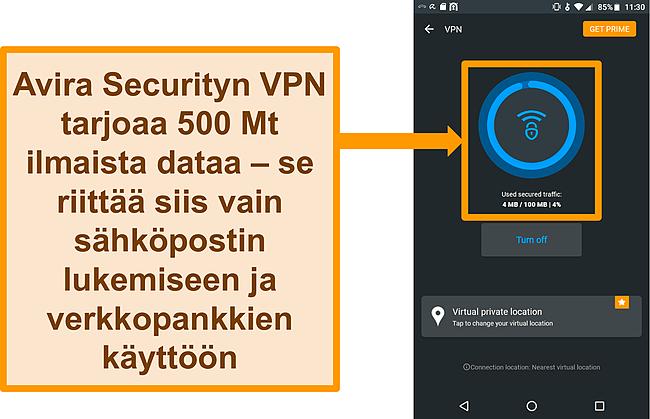 Näyttökuva Avira Securityn ilmaisesta Android VPN -yhteydestä