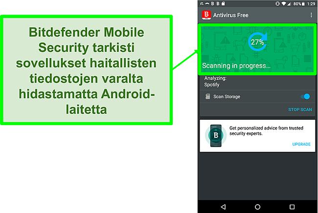 Kuvakaappaus Bitdefender Mobile Securityn ilmaisesta versiosta, joka skannaa Android-mobiililaitteen