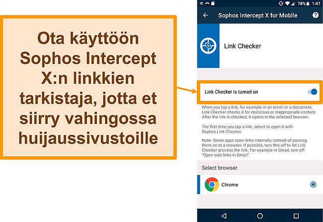 Näyttökuva Link Checker -sovelluksesta Sophos Intercept X: n ilmaisessa Android-sovelluksessa