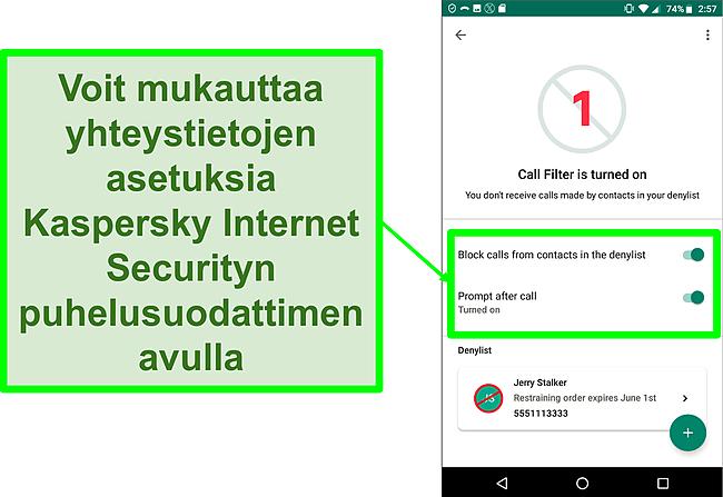 Näyttökuva Kaspersky Internet Securityn puhelusuodatintoiminnosta Android-mobiililaitteessa