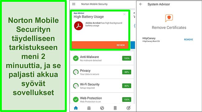 Kuvakaappaus skannauksesta Androidilla Norton Mobile Securityn avulla