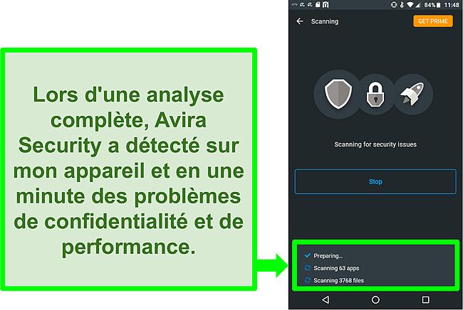 Capture d'écran d'une analyse de la progression à l'aide d'Avira Security gratuit pour Android