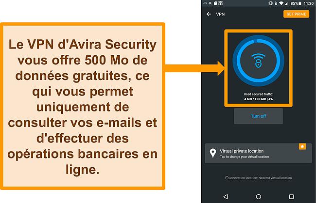 Capture d'écran du VPN Android gratuit d'Avira Security connecté