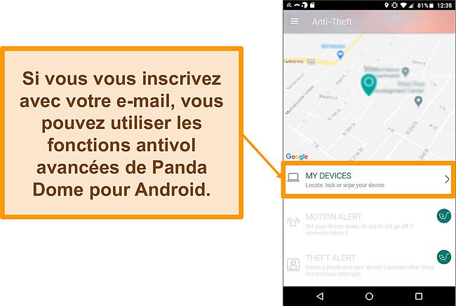 Capture d'écran du système antivol de Panda Dome sur un appareil mobile Android