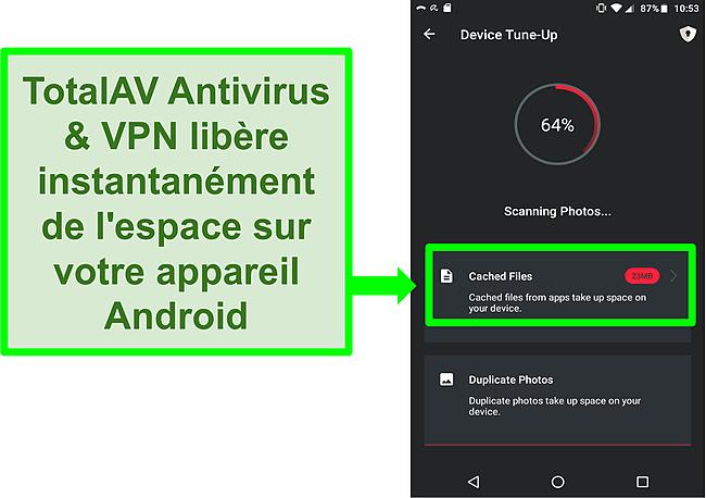 Capture d'écran de la fonction de nettoyage de l'appareil dans TotalAV Antivirus et VPN pour Android