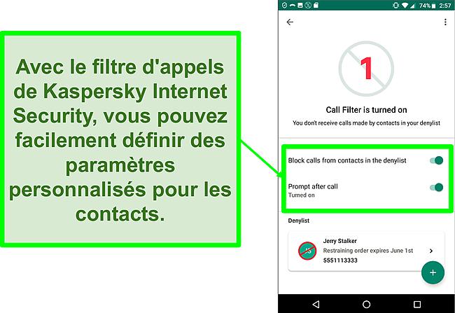 Capture d'écran de la fonction Filtre d'appel de Kaspersky Internet Security sur un appareil mobile Android