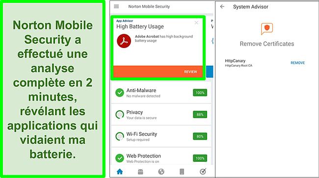 Capture d'écran d'une analyse sur Android à l'aide de Norton Mobile Security