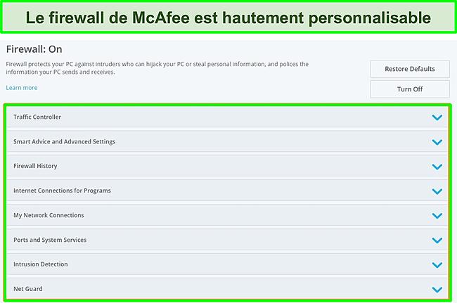Capture d'écran du pare-feu de McAfee.