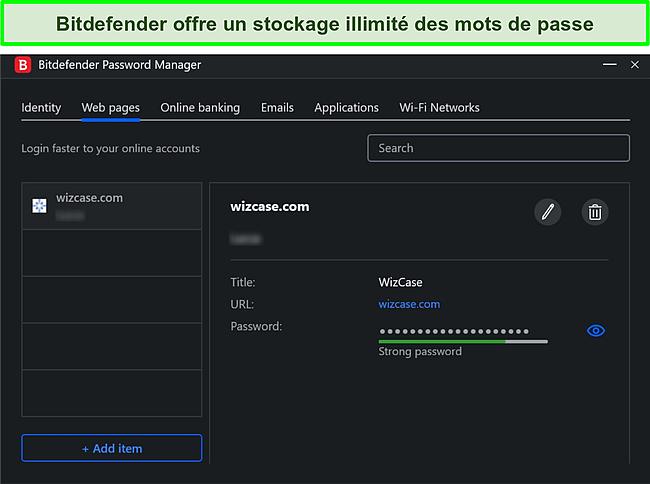 Capture d'écran du gestionnaire de mots de passe de Bitdefender.