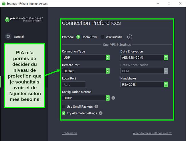 Capture d'écran des paramètres de sécurité disponibles de PIA