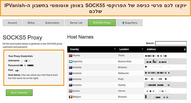 צילום מסך של אישורי כניסה לפרוקסי שהוקצו לחשבון IPVanish שלי