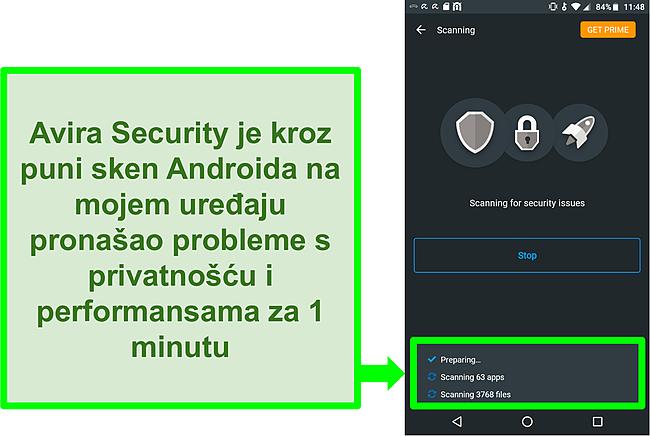 Snimka zaslona skeniranja napretka korištenjem Avira Security besplatno za Android