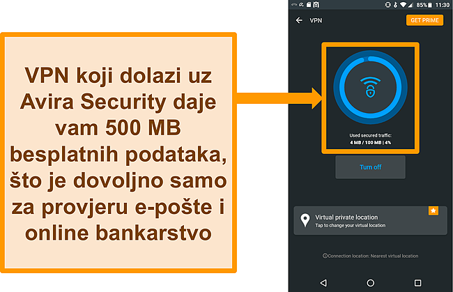 Snimka zaslona povezanog besplatnog Android VPN-a tvrtke Avira Security
