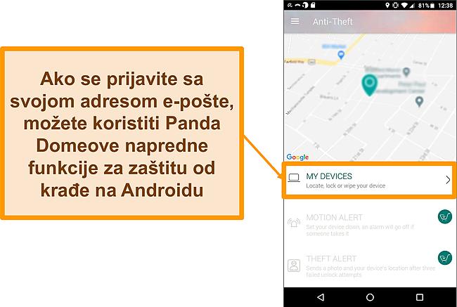 Snimka zaslona sustava protiv krađe tvrtke Panda Dome na Android mobilnom uređaju