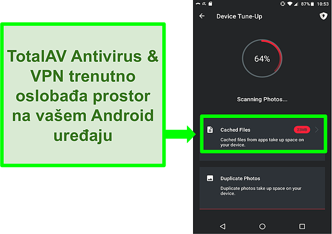 Snimka zaslona funkcije čišćenja uređaja u TotalAV Antivirus i VPN za Android
