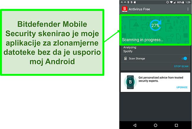 Snimka zaslona besplatne verzije Bitdefender Mobile Security koja skenira Android mobilni uređaj