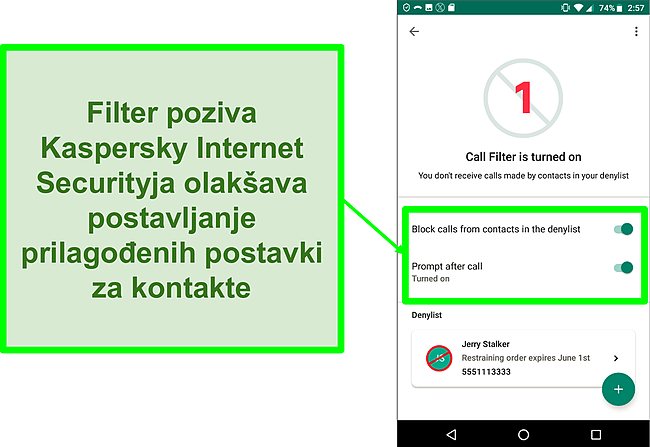 Snimka zaslona funkcije filtra poziva tvrtke Kaspersky Internet Security na Android mobilnom uređaju