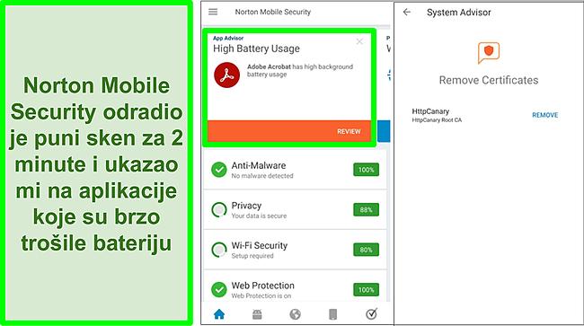 Snimka zaslona skeniranja na Androidu pomoću Norton Mobile Security