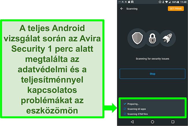 Pillanatkép az előrehaladás ellenőrzéséről az Android ingyenes Avira Security használatával