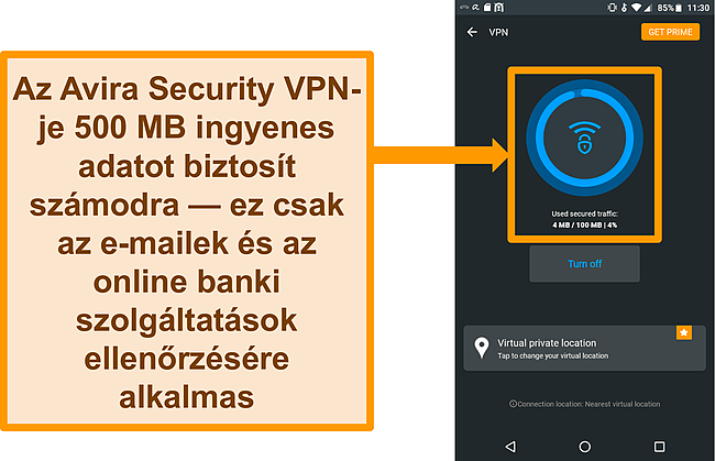 Pillanatkép az Avira Security ingyenes Android VPN-jéről
