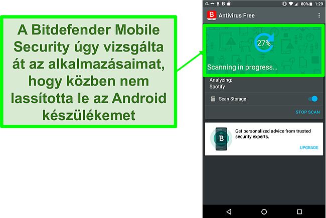 Pillanatkép a Bitdefender Mobile Security ingyenes verziójáról, amely Android mobil eszközt vizsgál