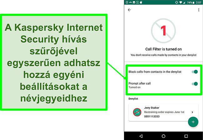 Pillanatkép a Kaspersky Internet Security hívásszűrő funkciójáról egy Android mobileszközön
