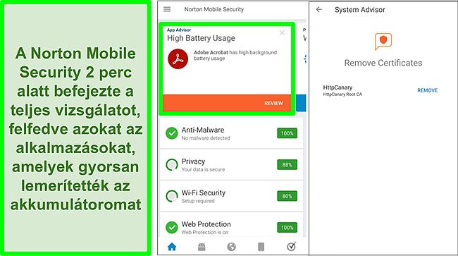 Pillanatkép az Androidon végzett ellenőrzésről, a Norton Mobile Security használatával