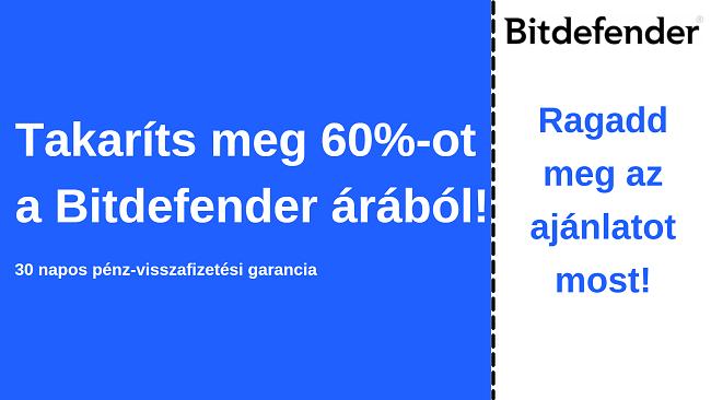 Bitdefender antivírus kupon akár 60% kedvezménnyel 30 napos pénz-visszafizetési garanciával