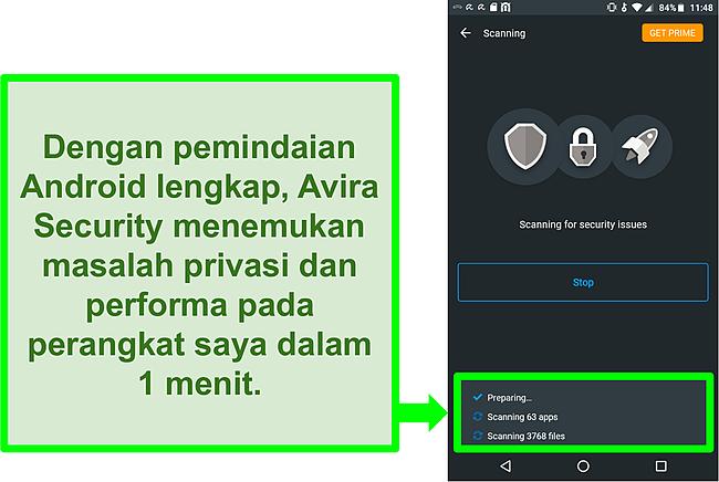 Tangkapan layar pemindaian yang sedang berlangsung menggunakan Avira Security gratis untuk Android