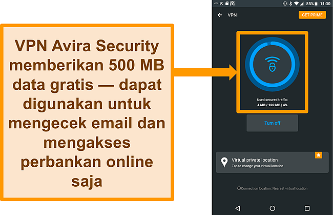 Tangkapan layar VPN Android gratis Avira Security terhubung