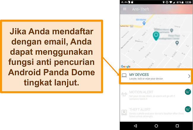 Tangkapan layar sistem anti-pencurian Panda Dome di perangkat seluler Android