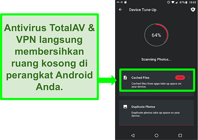 Tangkapan layar fungsi pembersihan perangkat di TotalAV Antivirus dan VPN untuk Android