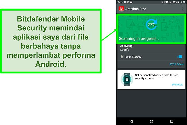 Tangkapan layar versi gratis Bitdefender Mobile Security yang memindai perangkat seluler Android