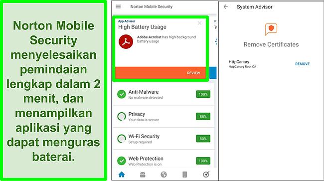 Tangkapan layar pemindaian di Android menggunakan Norton Mobile Security