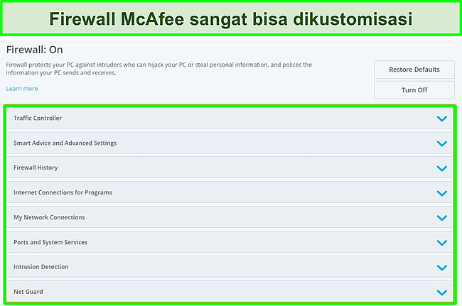 Tangkapan layar firewall McAfee.