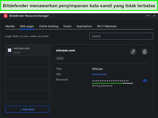 Tangkapan layar pengelola kata sandi Bitdefender.