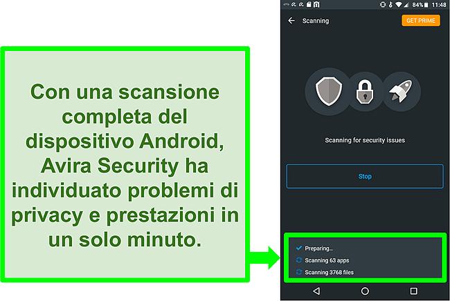 Screenshot di una scansione in corso con Avira Security gratis per Android