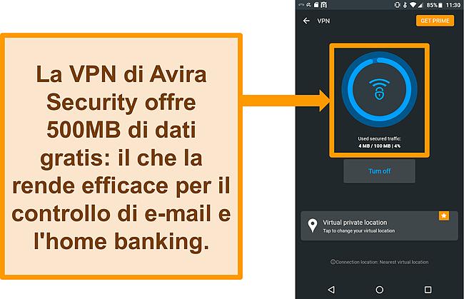 Screenshot della VPN Android gratuita di Avira Security connessa