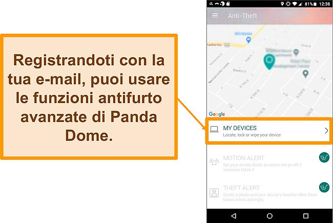 Screenshot del sistema antifurto di Panda Dome su un dispositivo mobile Android