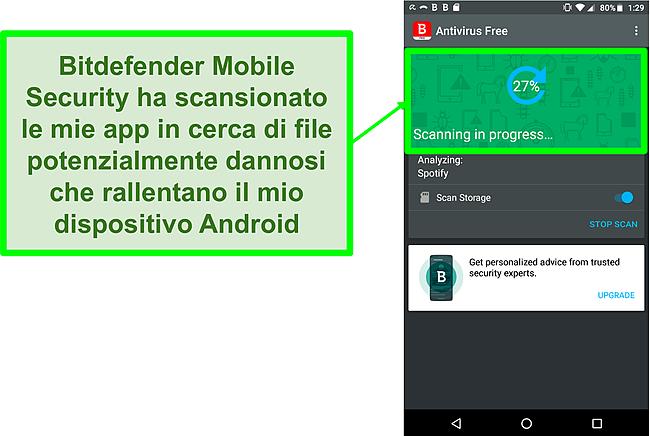 Screenshot della versione gratuita di Bitdefender Mobile Security che esegue la scansione di un dispositivo mobile Android