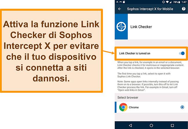 Screenshot del Link Checker sull'app Android gratuita di Sophos Intercept X