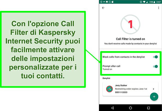Screenshot della funzione Filtro chiamate di Kaspersky Internet Security su un dispositivo mobile Android