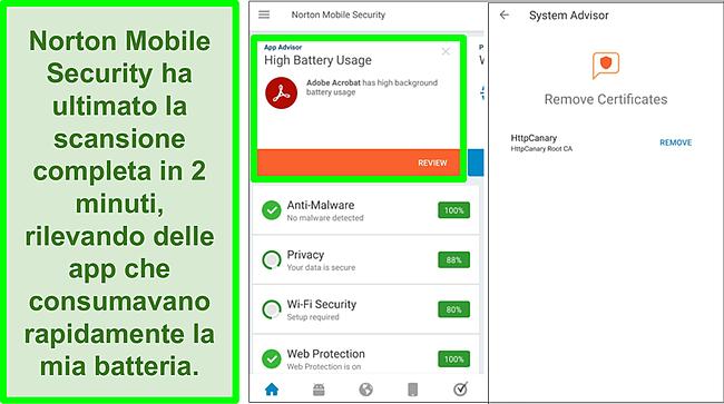Screenshot di una scansione su Android utilizzando Norton Mobile Security