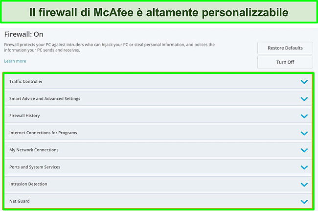 Screenshot del firewall di McAfee.