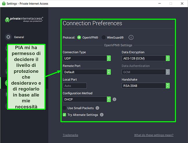 Screenshot delle impostazioni di sicurezza disponibili di PIA