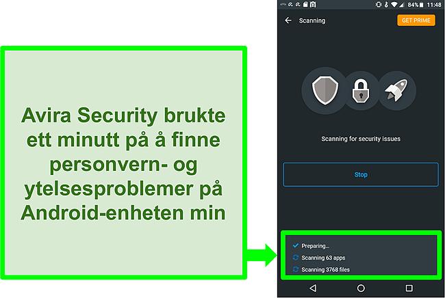 Skjermbilde av en skanning på fremdrift med Avira Security gratis for Android
