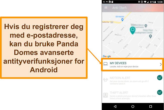 Skjermbilde av Panda Dome's tyverisikringssystem på en Android-mobilenhet