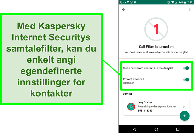 Skjermbilde av Kaspersky Internet Securitys samtalefilterfunksjon på en Android-mobilenhet