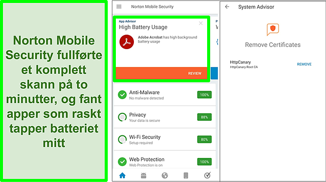 Skjermbilde av en skanning på Android ved hjelp av Norton Mobile Security