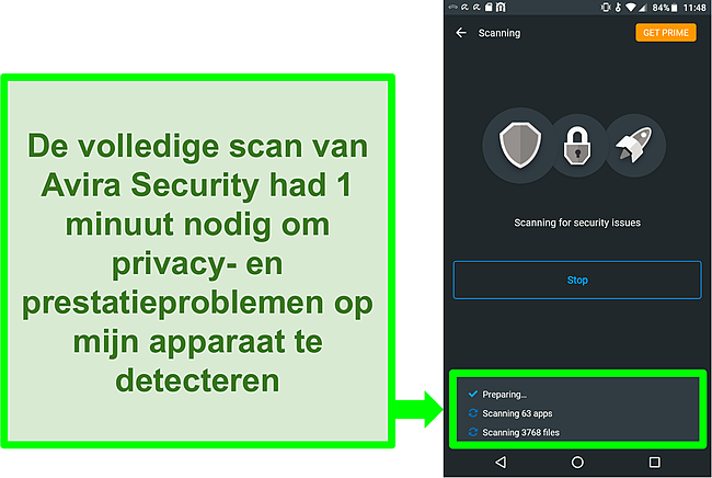 Screenshot van een scan van de voortgang met Avira Security gratis voor Android
